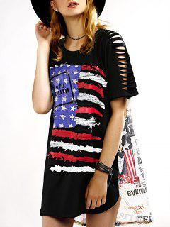Cutout Flag Print Irregular Hem T-Shirt Dress - Black