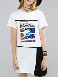 Color Block Round Neck Printed T-Shirt Dress - Black