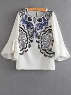 Print Ruffles Round Neck 3/4 Sleeve Blouse - White S