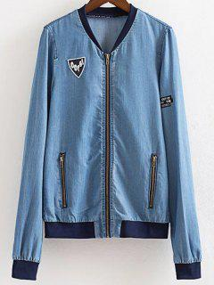 Embroidered Stand Neck Denim Jacket - Blue S