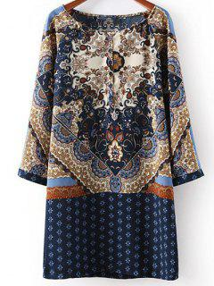 Vintage Print Long Sleeve Straight Dress - S