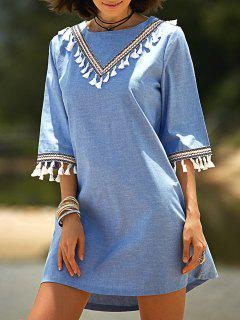 Lace Hook Round Neck 3/4 Sleeve Denim Dress - Blue S
