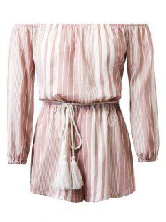 Off The Shoulder à Manches Longues Rayé Belted Playsuit - Rose Clair S