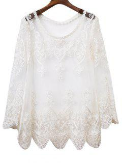 Cuello Redondo De Manga Larga See-Through De La Blusa - Blanco