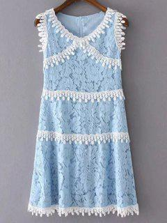 Round Neck Sleeveless Lace Splicing Dress - Light Blue S
