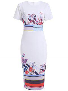 Floral Fitted Concealed Rear Zip Dress - White L