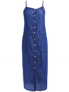 Casual Denim Spaghetti Strap Single-Breasted Dress - Blue S