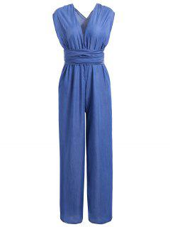 Criss Cross Denim Jumpsuit Palazzo Pants - Blue S