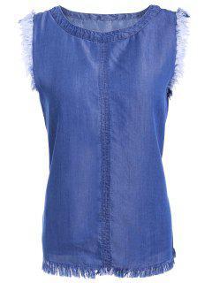 Chic Fringed Sleeveless Denim T-Shirt - Blue L