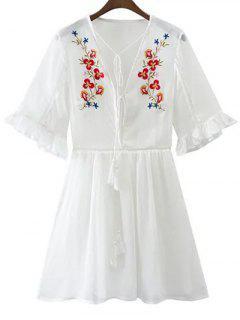 Plunging Neck Flare Sleeve Fringe Embroidery Dress - White S