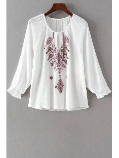 Long Sleeve Embroidered White Fall Top - White L