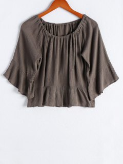 Off The Shoulder Flounce Ruffles Flare Sleeve Blouse - Army Green S
