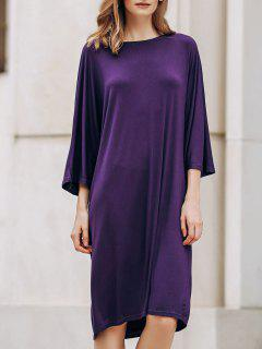 Loose Solid Color Round Neck Bat-Wing Sleeve Dress - Deep Purple