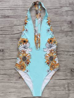 Floral One-Piece Plunge Swimsuit - Light Blue L