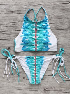 High-Neck String Bikini Set - White And Green M