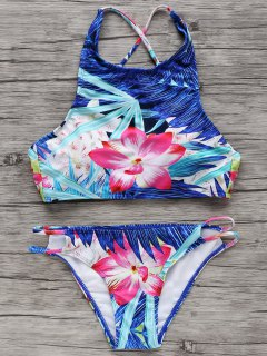 High-Neck Tropical Bikini Set - L