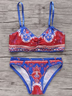 Lace Trim Printed Bikini Set - Blue And Red M