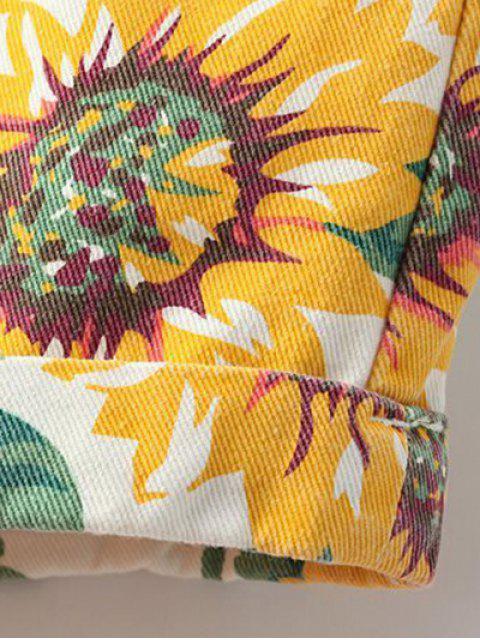 Shorts en denim imprimés tournesol - Jaune 27 Mobile