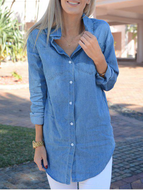 women's Turn-Down Collar Denim Solid Color Dress - LIGHT BLUE L Mobile