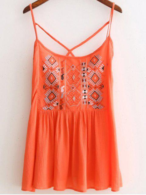buy Criss Back Embroidery Spaghetti Straps Top - ORANGEPINK M Mobile