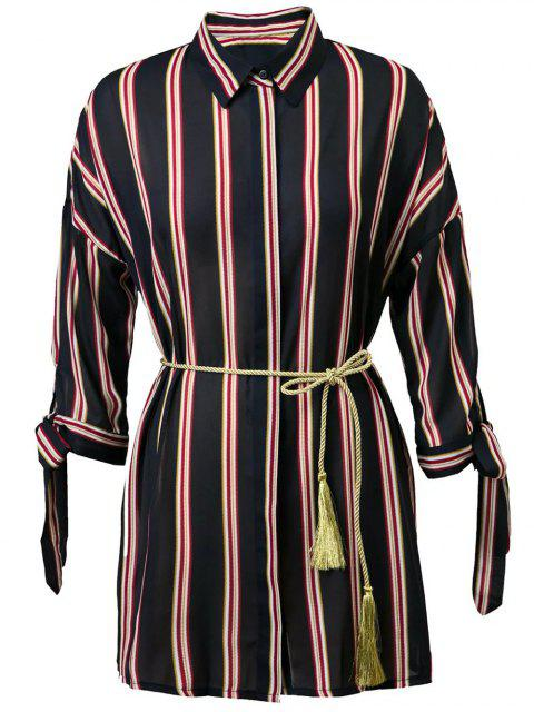chic Striped 3/4 Sleeve Knotted Belted Shirt Dress - PURPLISH BLUE L Mobile