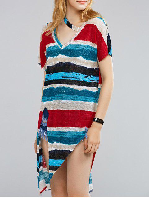 shops Irregular Hem V Neck Coloful Stripes T-Shirt - COLORMIX ONE SIZE(FIT SIZE XS TO M) Mobile