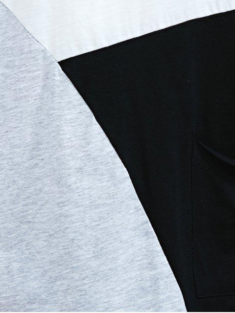 latest Color Block Round Neck Half Sleeve T-Shirt - WHITE AND BLACK ONE SIZE(FIT SIZE XS TO M) Mobile