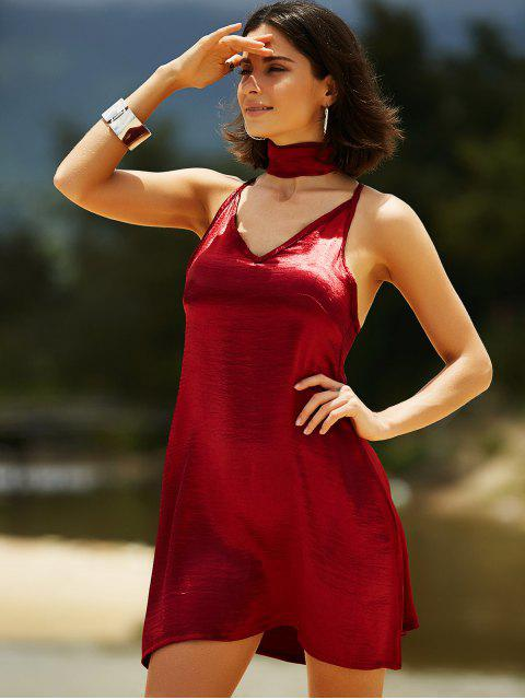unique Pure Color Cami Satin Dress - WINE RED L Mobile