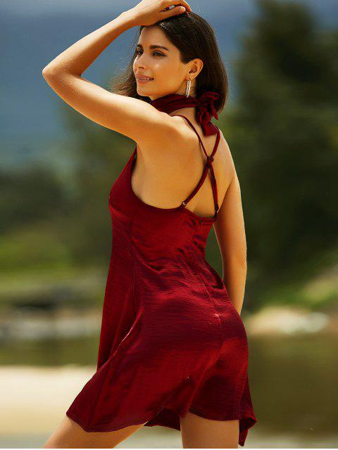 sale Pure Color Cami Satin Dress - WINE RED M Mobile