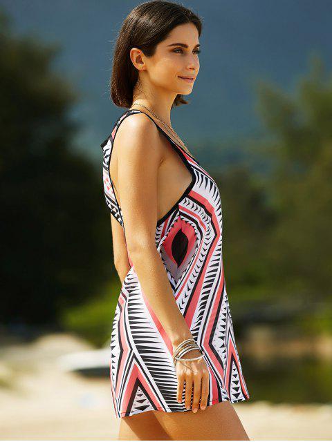 shops Geometric Print U Neck Sleeveless Dress - RED M Mobile