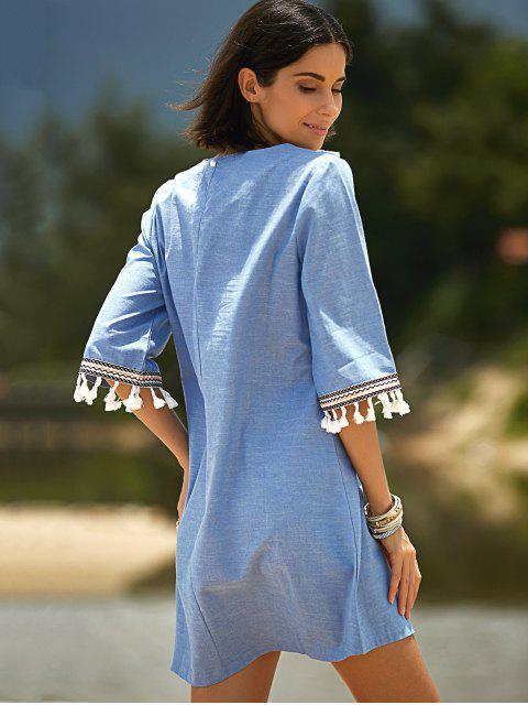 women's Lace Hook Round Neck 3/4 Sleeve Denim Dress - BLUE M Mobile