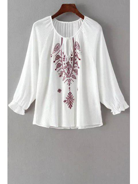 outfit Long Sleeve Embroidered White Fall Top - WHITE L Mobile