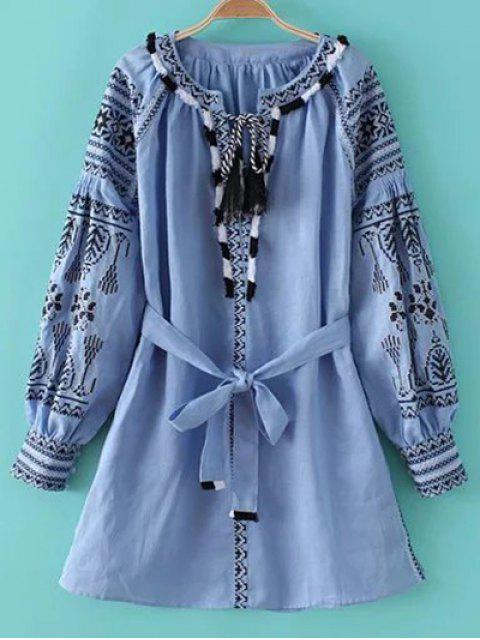 ladies Round Neck Long Sleeve Belted Embroidered Dress - LIGHT BLUE M Mobile