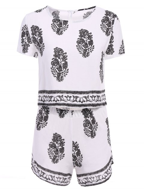 women's Short Sleeve Crop Top and Leaf Print Shorts Suit - WHITE L Mobile