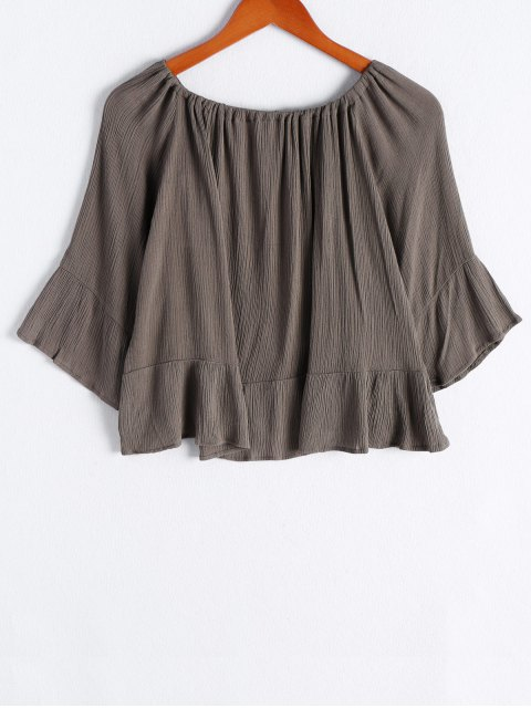 women's Off The Shoulder Flounce Ruffles Flare Sleeve Blouse - ARMY GREEN S Mobile