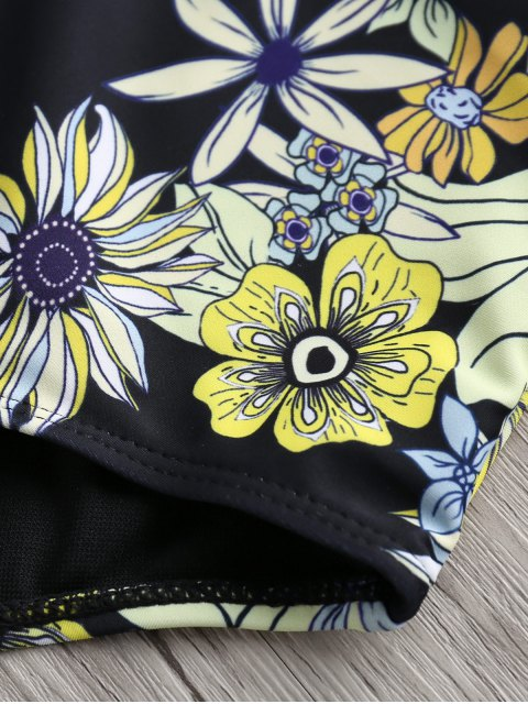 fancy Floral One-Piece Plunge Swimsuit - BLACK S Mobile