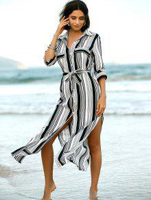 39c16fa31fa9 35% OFF] 2019 Stripe V Neck Long Sleeve Maxi Shirt Dress In STRIPE ...