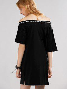 letter print off the shoulder t shirt dress black dresses 2018 one size fit size xs to m zaful. Black Bedroom Furniture Sets. Home Design Ideas