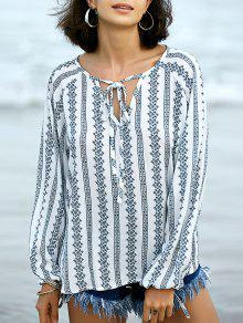 Printed Peasant Top - Blanc Xl