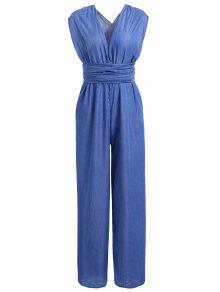 Buy Criss Cross Denim Jumpsuit Palazzo Pants - BLUE S