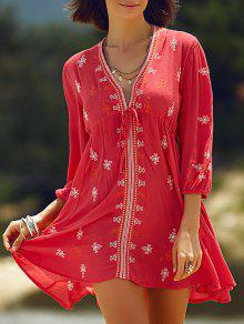 Retro Embroidery Plunging Neck 3/4 Sleeve Dress - Red L
