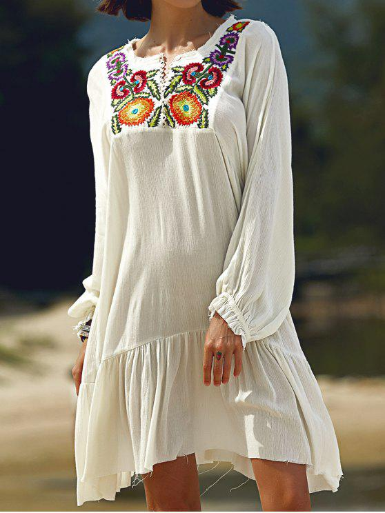 unique Long Sleeve Embroidery Round Neck Dress - WHITE M