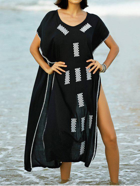 Bordados V-Neck vestido do Cabo - Preto M