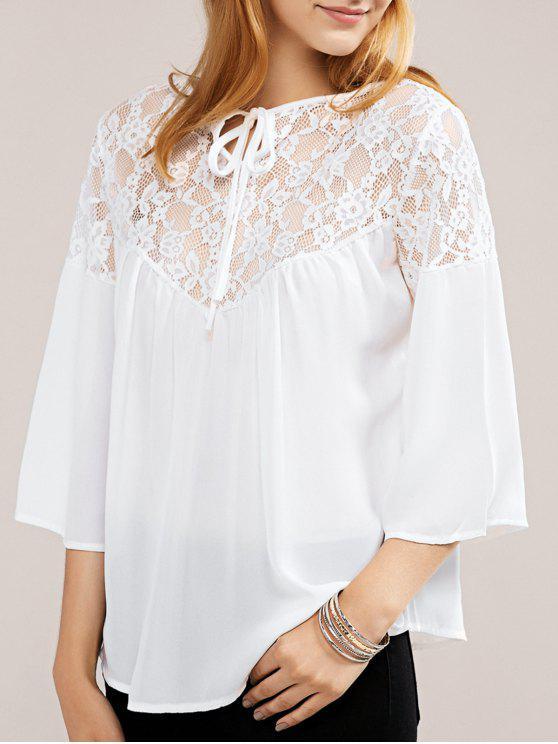 chic White Lace Chiffon Top - WHITE S