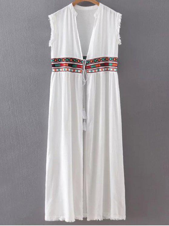best Collarless Fringe Drawstring Embroidered Waistcoat - WHITE M