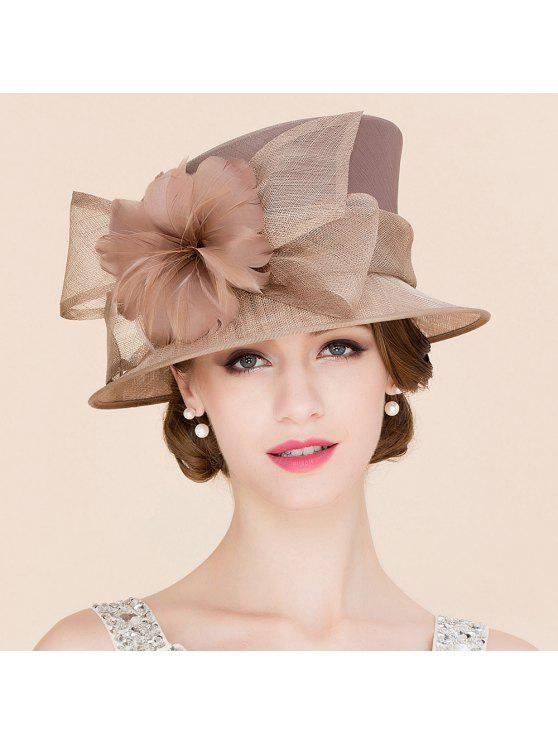 women's Flowered Linen Tea Party Hat - KHAKI