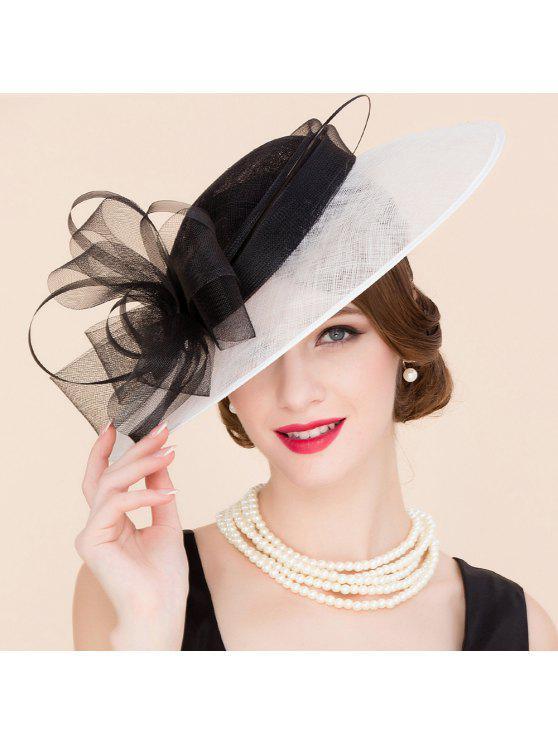 ladies Black and White Fascinator Cocktails Hat - BLACK