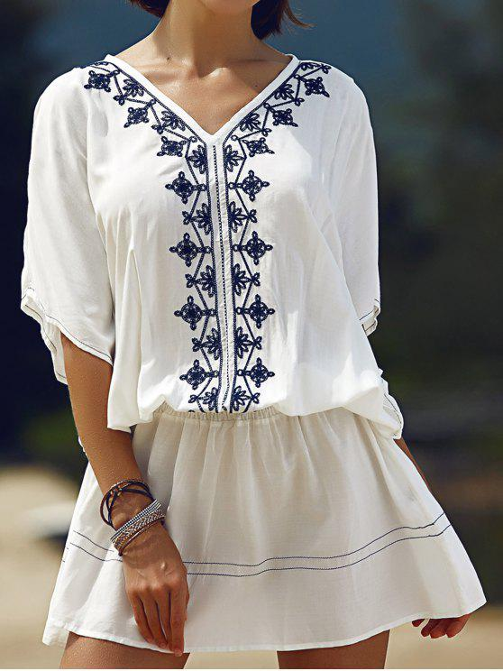 best Batwing Sleeve Embroidered Dress - WHITE S