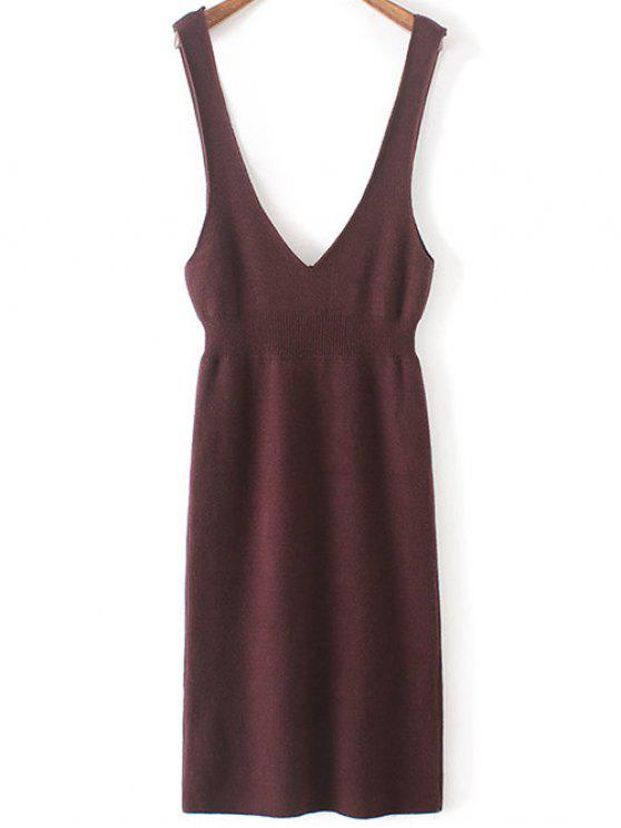 best Plunging Neck Sweater Dress - PURPLISH RED ONE SIZE(FIT SIZE XS TO M)