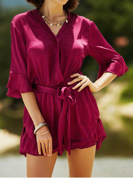 new Satin V-Neck Flare Sleeve Belted Romper - WINE RED L